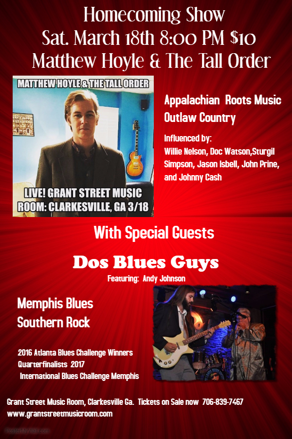 Mathew Hoyle & The Tall Order with Dos Blues Guys @ Grant Street Music Room | Clarkesville | Georgia | United States